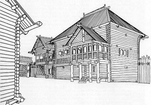 Часть богатого двора. Новгород. XIII в. Реконструкция Г.В. Борисевича