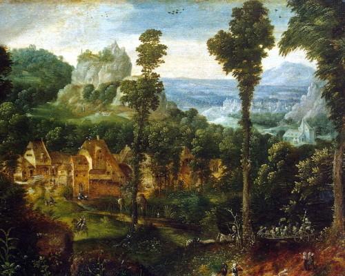 Пейзаж со сценой бегства в Египет, фрагмент