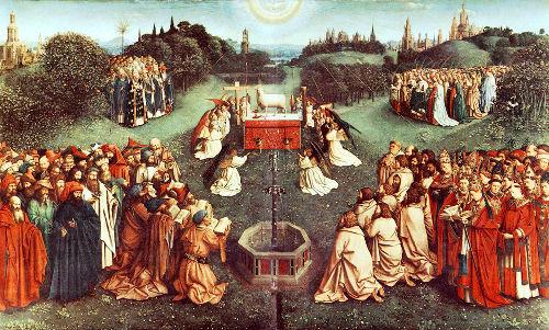 Гентский алтарь (фрагмент): в центре нижнего центрального яруса сцена поклонения жертвенному агнцу