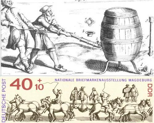 Первый вакуумный насос Отто фон Герике не создал вакуума в пивной бочке, но медные полушария, из которых откачали воздух, не могли разъединить даже упряжки лошадей (с почтовой марки ГДР)