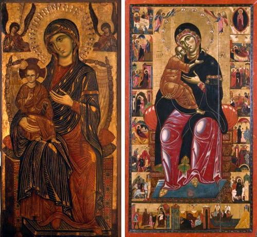 Мадонна с младенцем на троне, слева: Пизанский мастер, справа: Коппо ди Марковальдо (Флоренция)