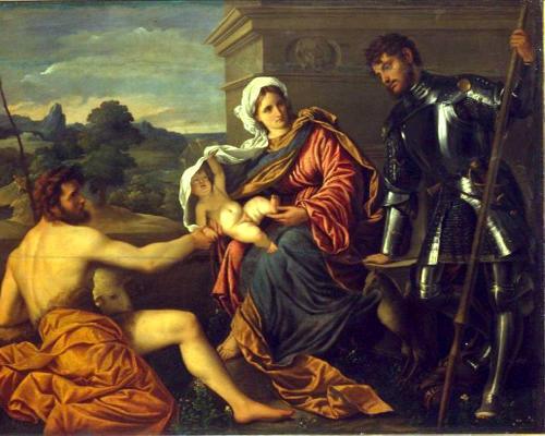 П. Бордоне. Мадонна с младенцем, Иоанном Крестителем и св. Георгием